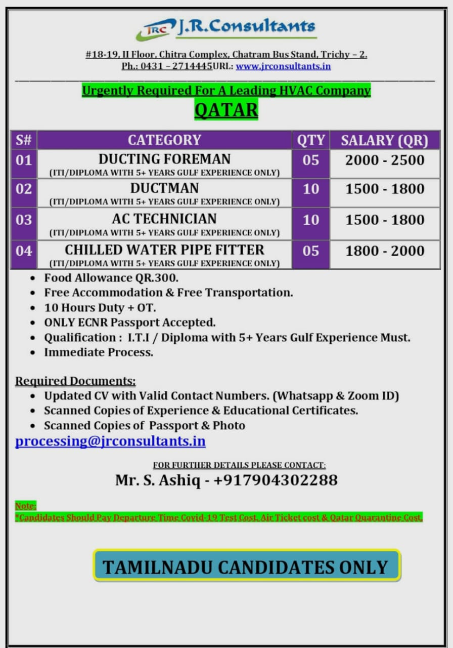 URGENTLY REQUIRED FOR A LEADING HVAC COMPANY QATAR