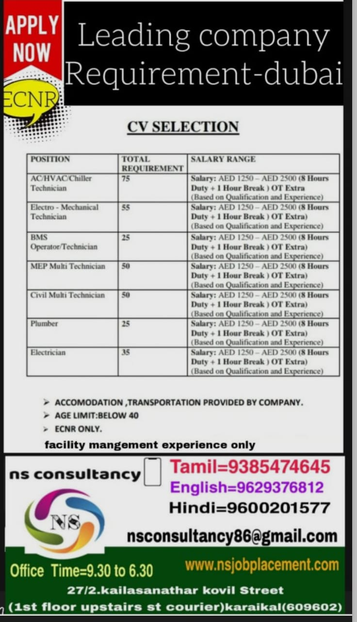 Leading company Requirement-dubai