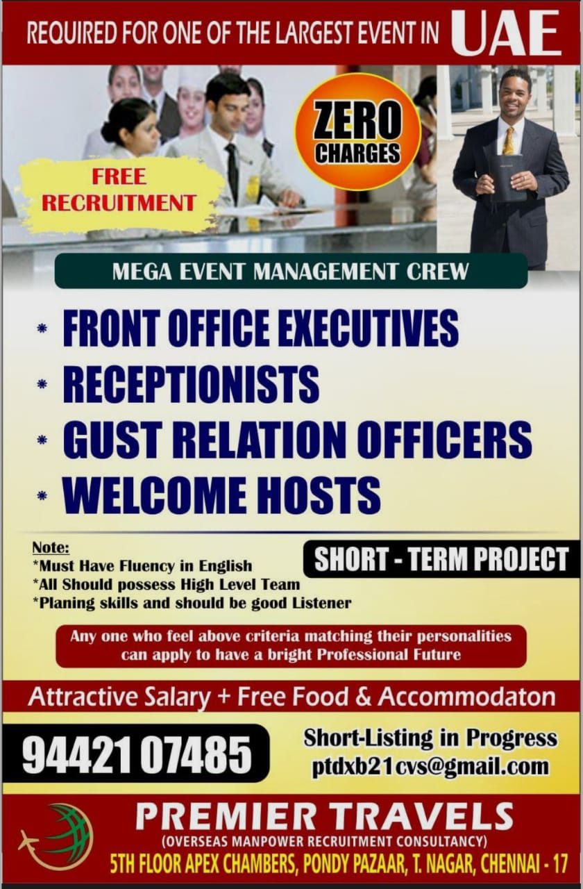 WALK-IN INTERVIEW AT CHENNAI FOR UAE MEGA EVENT MANAGEMENT CREW