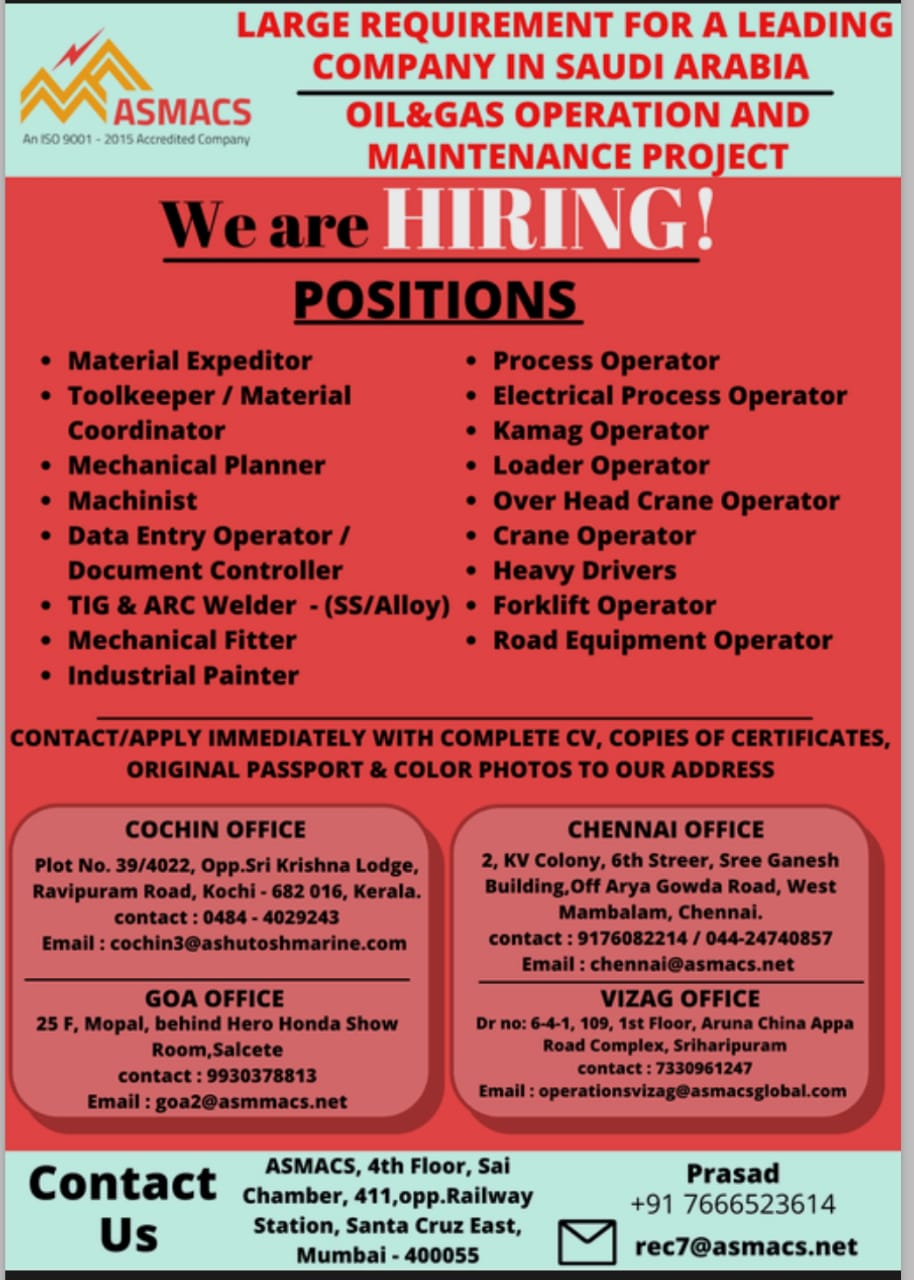 WALK-IN INTERVIEW AT COCHIN, CHENNAI, GOA, VIZAG FOR OIL AND GAS OPERATION AND MAINTENANCE PROJECT SAUDI ARABIA