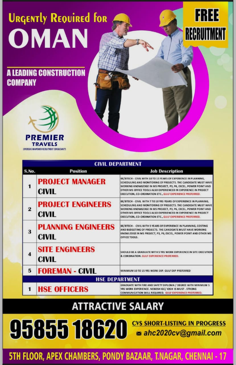 WALK-IN INTERVIEW AT CHENNAI FOR OMAN CONSTRUCTION COMPANY