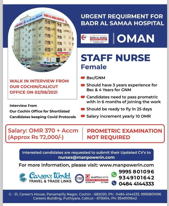 WALK-IN INTERVIEW AT CALICUT AND COCHIN FOR OMAN BADR ALL SAMAA HOSPITAL