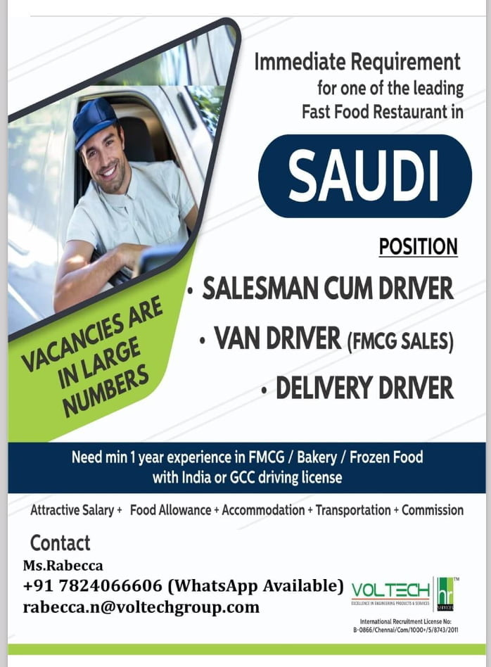 WALK-IN INTERVIEW AT CHENNAI FOR SAUDI FAST FOOD RESTAURANT