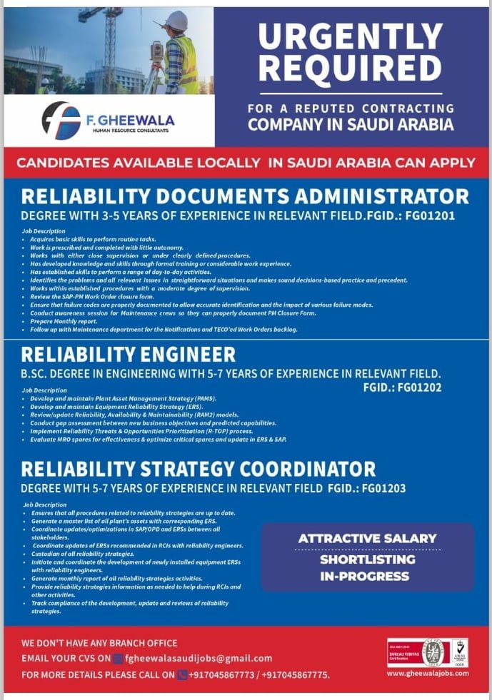 WALK-IN INTERVIEW AT MUMBAI FOR SAUDI ARABIA REPUTED CONSTRUCTION COMPANY