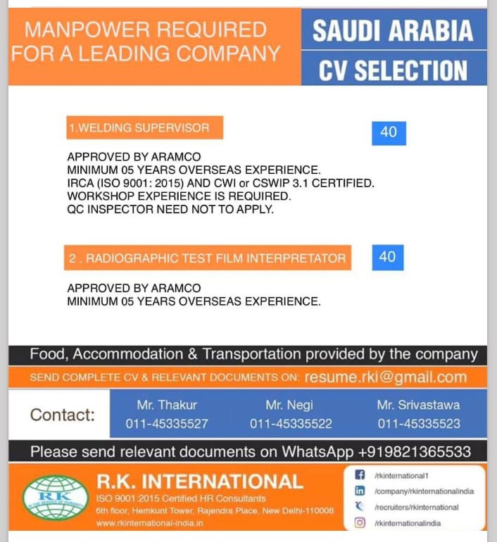WALK-IN INTERVIEW AT NEW DELHI FOR SAUDI ARABIA MANPOWER REQUIRED LEADING COMPANY