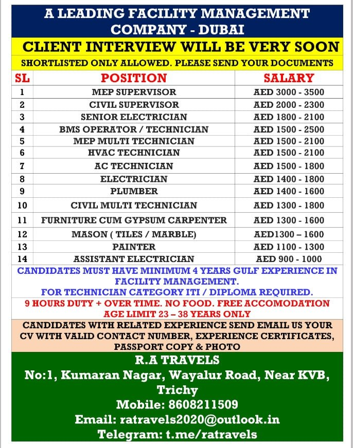 WALK-IN INTERVIEW AT TRICHY FOR DUBAI FACILITY MANAGEMENT COMPANY