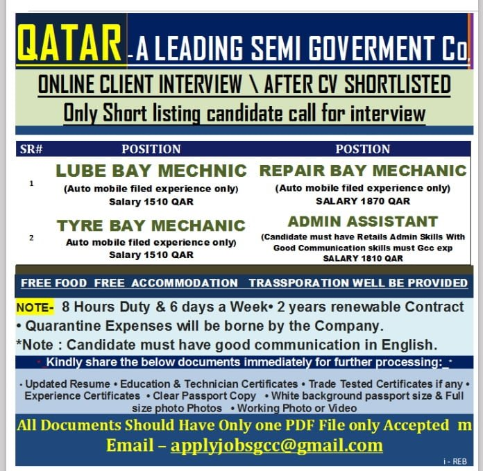 WALK-IN INTERVIEW AT MUMBAI FOR QATAR SEMI GOVERNMENT CO.