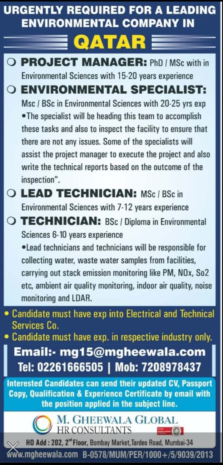 WALK-IN INTERVIEW AT MUMBAI FOR QATAR LEADING OIL AND GAS COMPANY URGENTLY REQUIRED