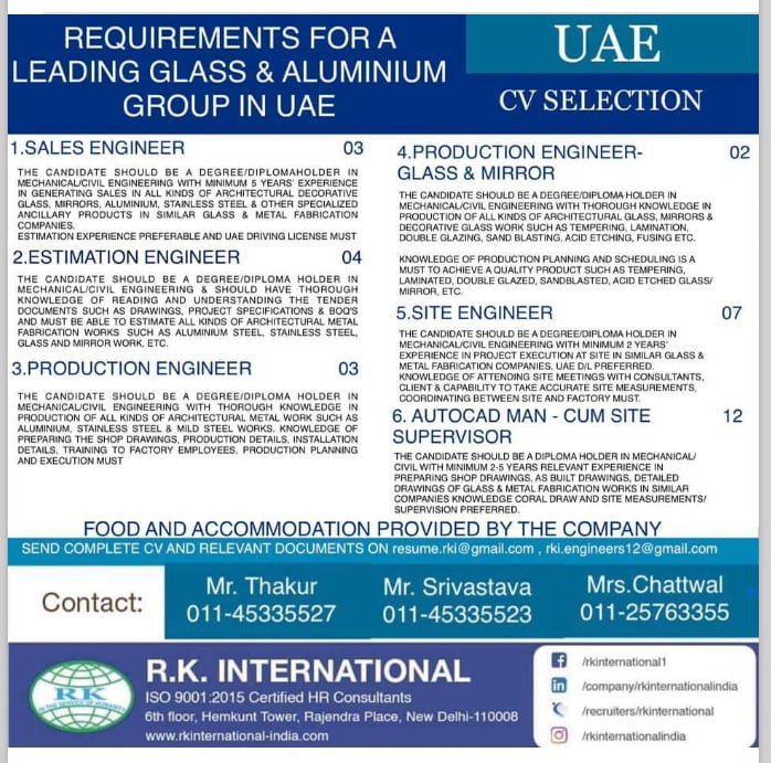 WALK-IN INTERVIEW AT NEW DELHI FOR GLASS AND ALUMINIUM GROUP IN UAE