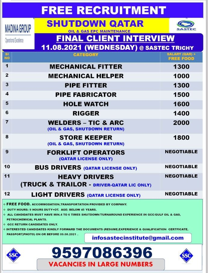WALK IN INTERVIEW IN TRICHY FOR A SHUTDOWN PROJECT IN QATAR