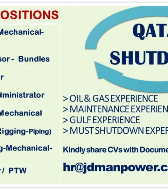QATAR AN INTERNATIONAL CO REQUIRES FOR OIL AND GAS SHUTDOWN MAINTENANCE PROJECT JOB OPENINGS