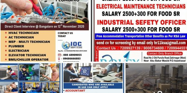 Walk in Interview for Gulf Countries 2020