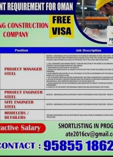 OMAN JOB VACANCY INTERVIEW IN INDIA