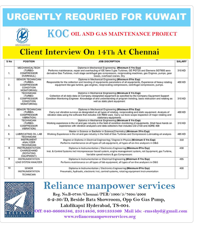 Kuwait Oil Company jobs vacancy 2018 Recruitment August 12, 2019