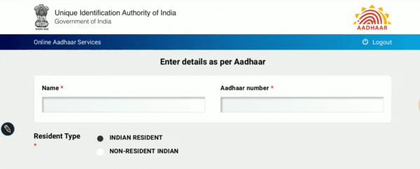 Submit Name and Aadhaar number