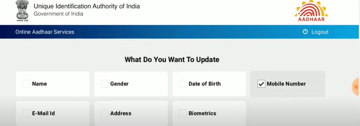 Choose to Update Mobile Number in Aadhar portal