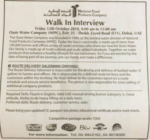 Walk in interview In Dubai tomorrow