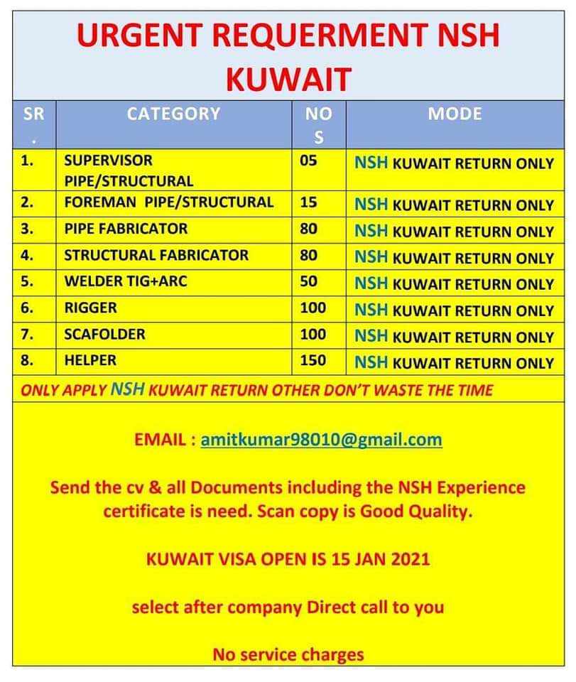 URGENTLY REQUIREMENT NSH- KUWAIT