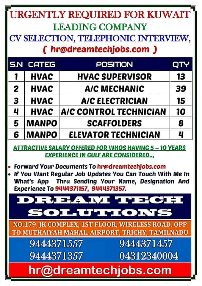 URGENTLY REQUIRED FOR KUWAIT LEADING COMPANY