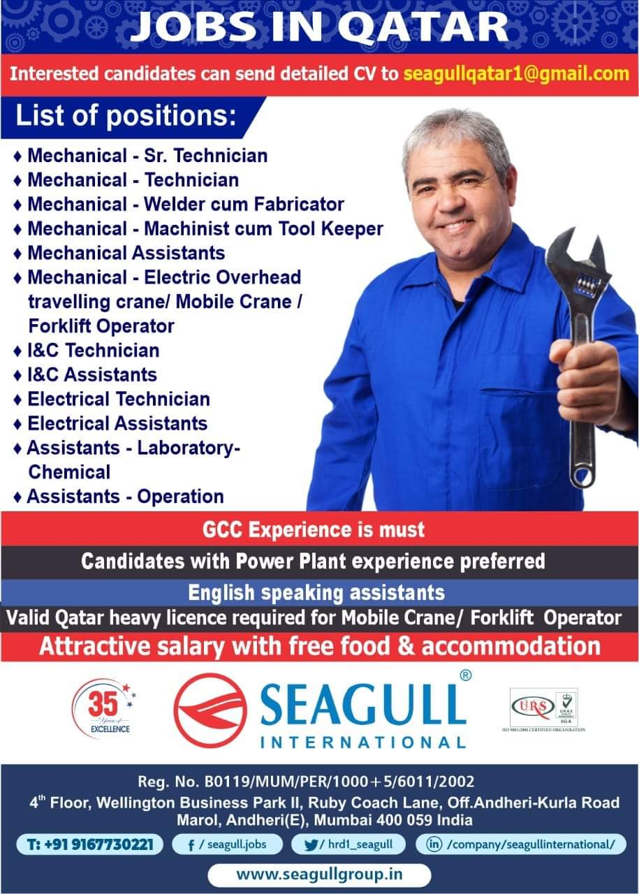 REQUIREMENT FOR JOBS IN QATAR