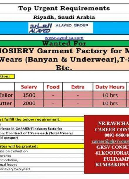 URGENT REQUIREMENT FOR HOSIERY GARMENT FACTORY