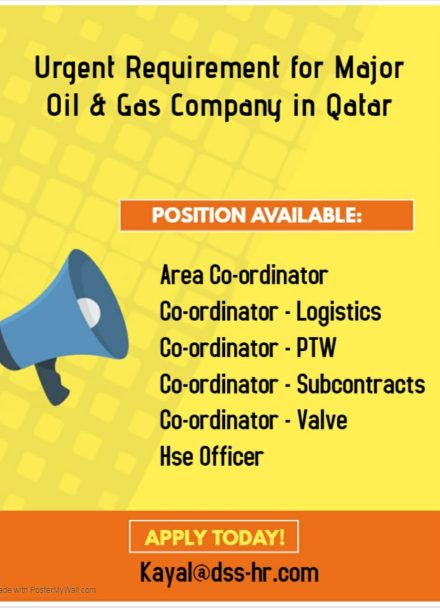 URGENT REQUIREMENT FOR MAJOR OIL & GAS COMPANY