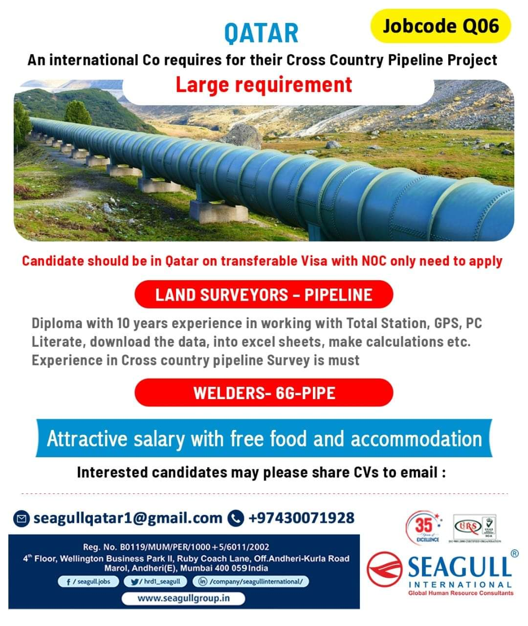 URGENTLY REQUIRED FOR AN INTERNATIONAL CO REQUIRES FOR THEIR CROSS COUNTRY PIPELINE PROJECT