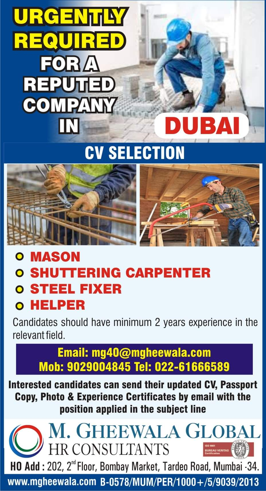 URGENTLY REQUIRED FOR A REPUTED COMPANY-DUBAI
