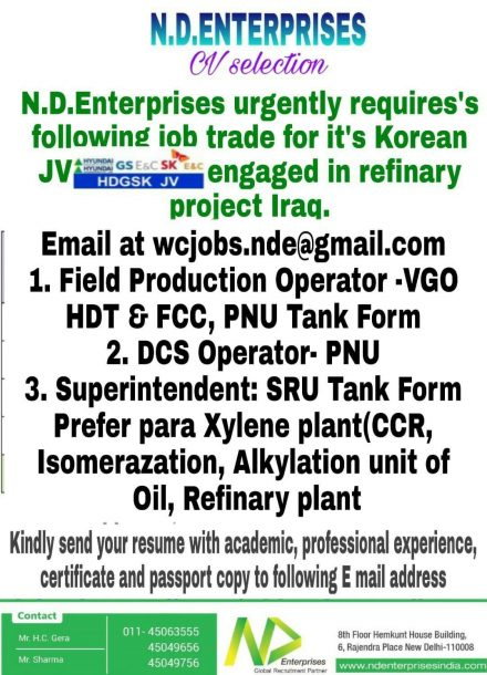 URGENTLY REQUIRES FOR JOB TRADE IN REFINARY PROJECT