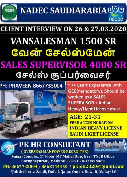 REQUIREMENT FOR SALES SUPERVISOR