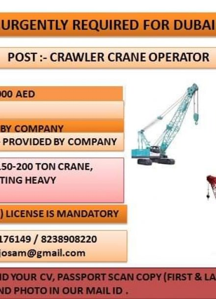 URGENTLY REQUIRED FOR CRAWLER CRANE OPERATOR