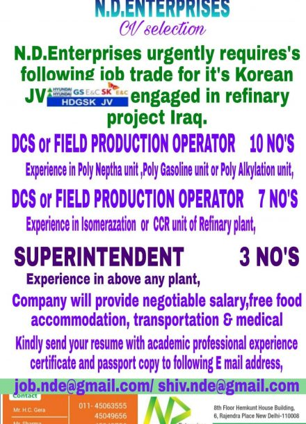 URGENTLY REQUIREMENT FOR REFINARY PROJECT IN IRAQ