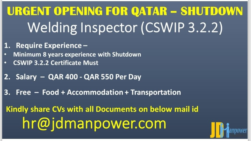 URGENT OPENING FOR QATAR-SHUTDOWN