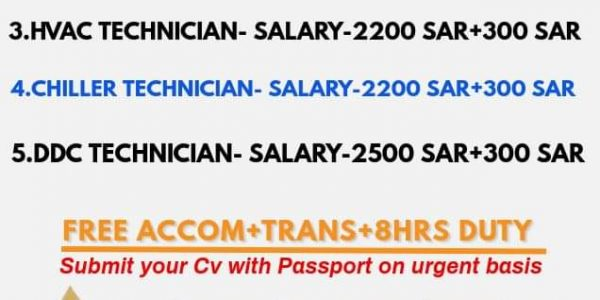 URGENTLY REQUIRED FOR ARABIAN FAL CO. SAUDI
