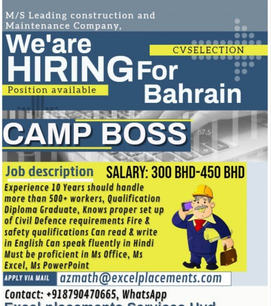 HIRING FOR LEADING CONSTRUCTION COMPANY