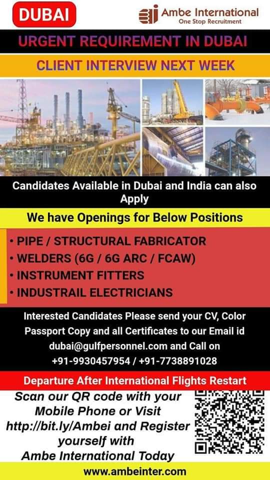 URGENT REQUIREMENT N DUBAI