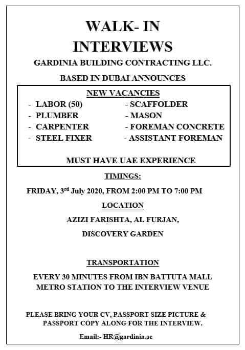 REQUIREMENT FOR GARDINIA BUILDING CONTRACTING COMPANY