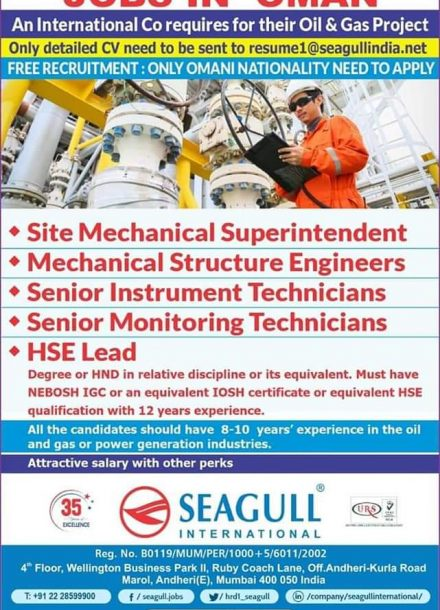 REQUIREMENT FOR A OIL &GAS PROJECT IN INTERNATIONAL COMPANY