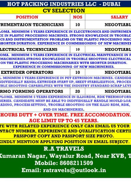 HIRING FOR HOT PACKING INDUSTRIES