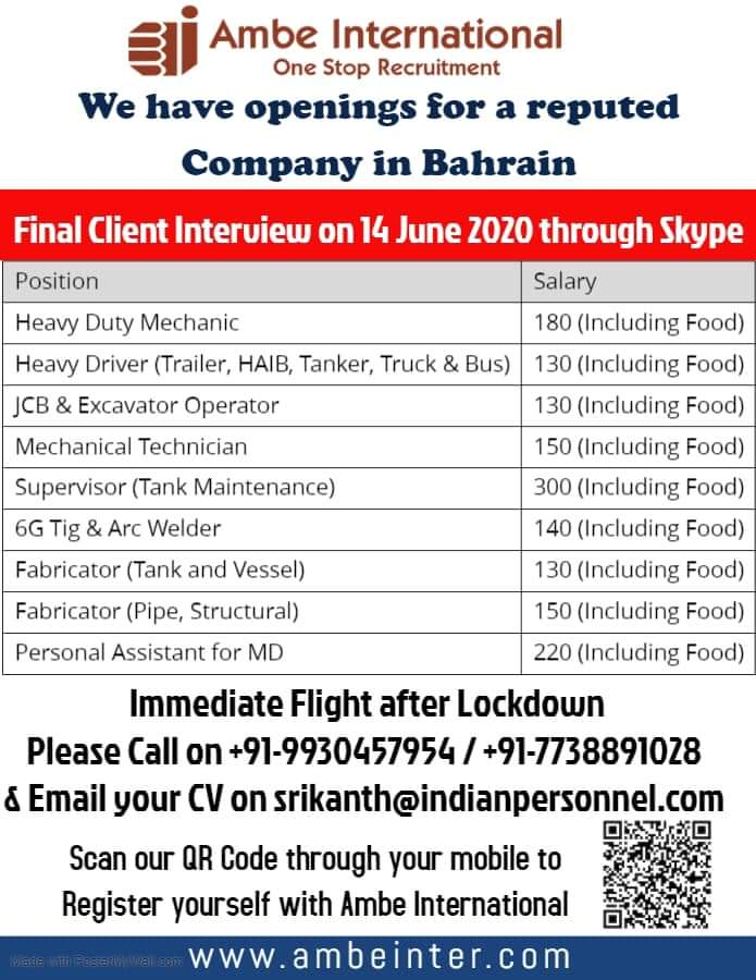 OPENINGS FOR REPUTED COMPANY IN BAHRAIN