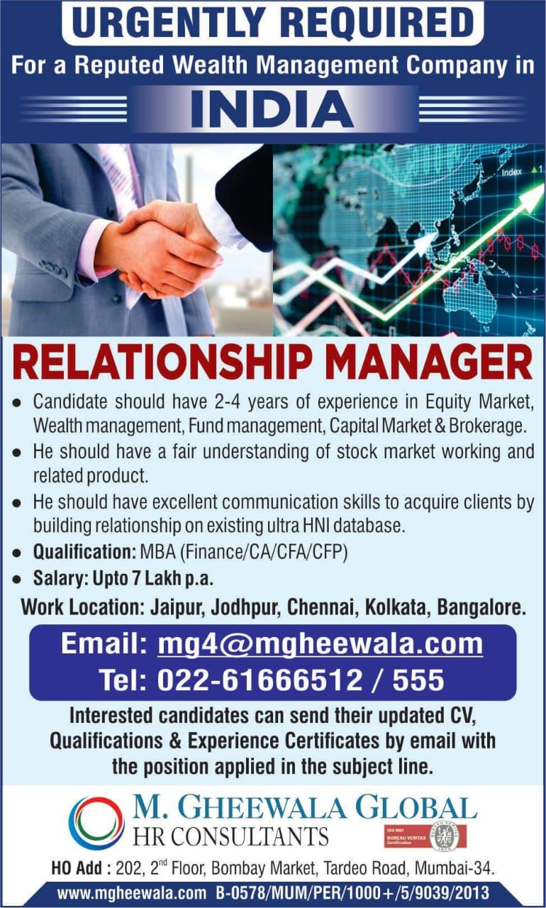 URGENTLY REQUIRED FOR A WEALTH MANAGEMENT COMPANY-INDIA