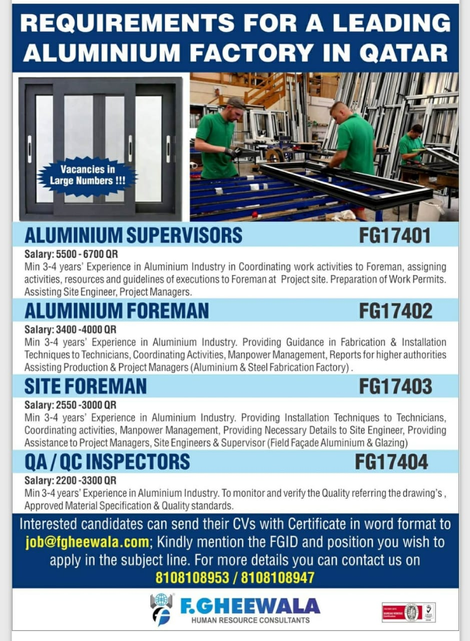 REQUIREMENTS FOR A LEADING ALUMINIUM FACTORY-QATAR