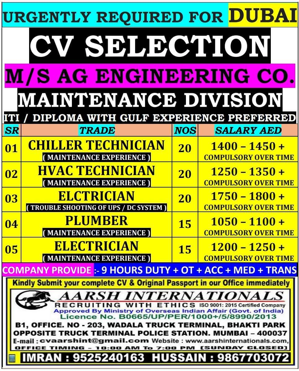 URGENT REQUIREMENT FOR M/S AG ENGINEERING