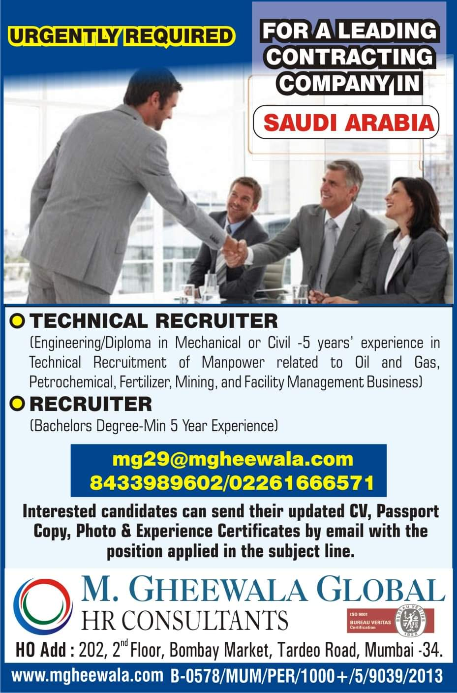 URGENTLY REQUIRED FOR A CONSTRUCTION COMPANY-SAUDI ARABIA