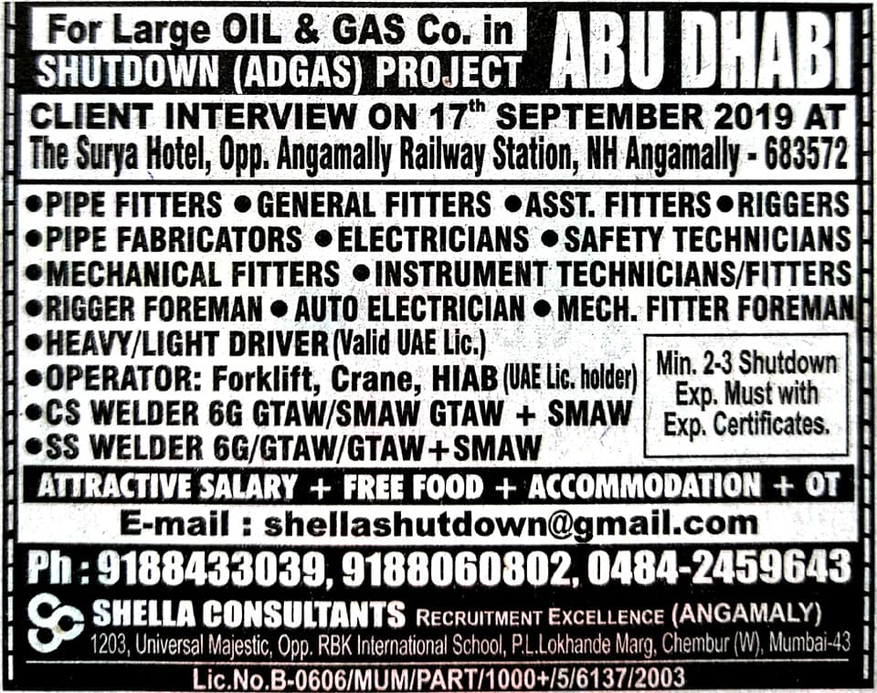 Shutdown Job Gulf Walk in interviews 2019 | Shutdown Jobs